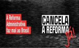 Fundo cinza escuro com dizeres cancela a reforma já.