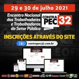 Computador, notebook e celular. Divulgação do Encontro nacional dos trabalhadores do setor público contra a PEC 32 e indicação para se inscrever no site do evento.