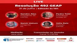 Fundo vermelho com foto dos palestrantes da live sobre a resolução 492 da GEAP.