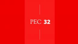 fundo vermelho com os dizeres PEC 32
